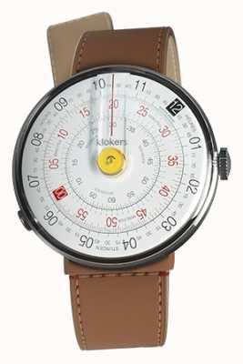 Klokers Klok 01 giallo orologio testa caramello marrone stretto singolo cinturino KLOK-01-D1+KLINK-04-LC12