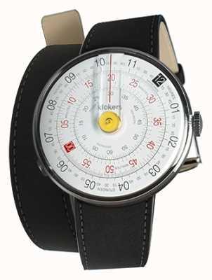 Klokers Cinghia per orologi gialla Klok 01 con doppio cinturino nero KLOK-01-D1+KLINK-02-380C2
