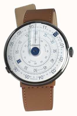 Klokers Klok 01 blu orologio testa caramello marrone stretto singolo cinturino KLOK-01-D4.1+KLINK-04-LC12