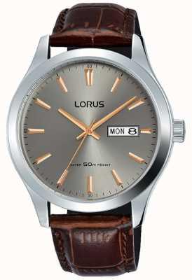 Lorus Cassa in acciaio inossidabile quadrante grigio cinturino in pelle marrone RXN61DX9