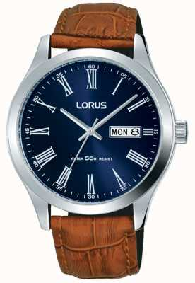 Lorus Quadrante blu scuro con cinturino in pelle marrone data e giorno RXN55DX9