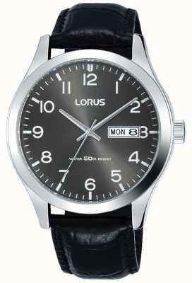 Lorus Quadrante grigio cinturino in pelle nera con datario e data RXN59DX9