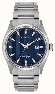 Citizen Bracciale da uomo in quadrante blu tono argento super titanio BM7360-82L