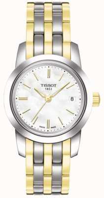 Tissot Womens classic dream mop quadrante bianco con cinturino bicolore T0332102211100