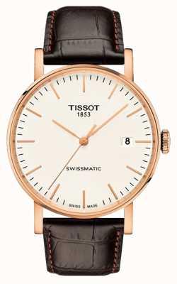Tissot Mens sempre con cinturino in pelle placcata oro rosa swissmatic T1094073603100