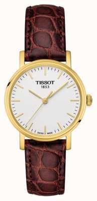 Tissot Womens everytime in pelle marrone placcato oro con stampa svizzera T1092103603100