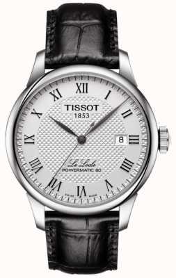 Tissot Mens le locle powermatic 80 quadrante argentato cinturino in pelle nera T0064071603300