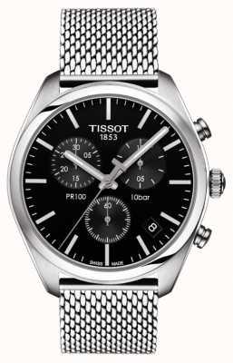 Tissot Bracciale da uomo in acciaio inossidabile con quadrante nero cronografo pr100 T1014171105101