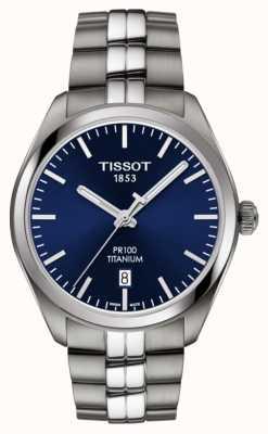 Tissot Mens pr100 titanio quadrante blu quarzo T1014104404100