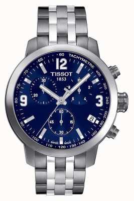 Tissot Mens prc 200 cronografo quadrante blu due toni T0554171104700