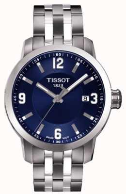 Tissot Mens prc 200 quadrante blu cronografo cinturino bicolore T0554101104700