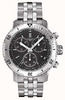 Tissot Bracciale cronografo da uomo in acciaio inossidabile con quadrante nero 200 prs T0674171105101