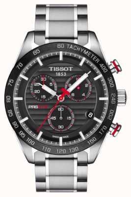 Tissot Bracciale da uomo in acciaio inossidabile con quadrante nero cronografo prs 516 T1004171105101