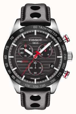 Tissot Cinturino in pelle con quadrante nero cronografo da uomo prs 516 T1004171605100