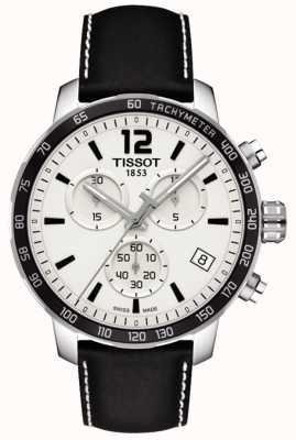 Tissot Cronografo da uomo con quadrante bianco cinturino in pelle nera T0954171603700