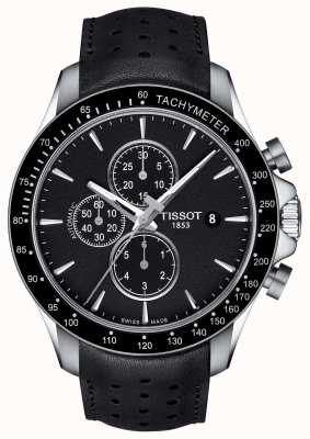 Tissot Mens v8 swissmatic cronografo quadrante nero in pelle nera T1064271605100