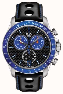 Tissot Mens v8 alpina quadrante blu in fibra di carbonio quadrante nero in pelle T1064171620101