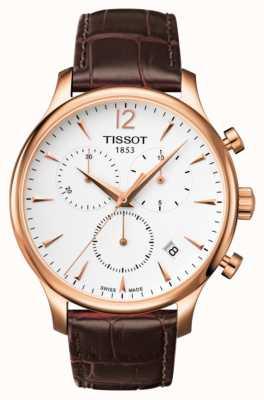 Tissot Cronografo da uomo in pelle marrone placcato oro rosa T0636173603700