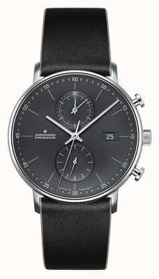 Junghans Cronografo da uomo con cinturino in pelle nera 041/4876.00