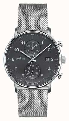 Junghans Cronografo da uomo con cinturino a maglie in argento 041/4877.44