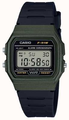 Casio Cronografo allarme cassa verde e nera F-91WM-3AEF