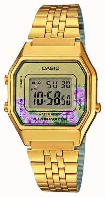 Casio Quadrante con stampa floreale placcata oro pvd illuminatore LA680WEGA-4CEF