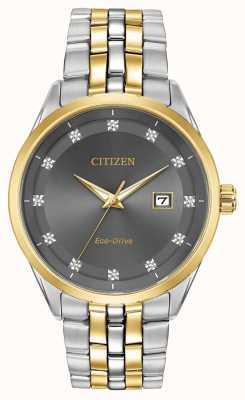 Citizen Corso da uomo con diamanti, quadrante grigio, cinturino bicolore BM7258-54H