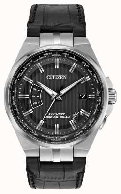 Citizen Cinturino in pelle nera con quadrante nero per uomo CB0160-00E