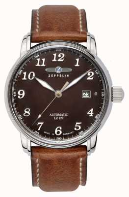 Zeppelin Graf data lz127 display marrone quadrante marrone in pelle marrone 8656-3