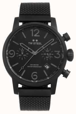 TW Steel Cronografo calibro Maverick cinturino in maglia nera quadrante nero MB33
