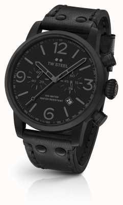 TW Steel Cinturino nero con cinturino in pelle di vitello cronografo Maverick MS114
