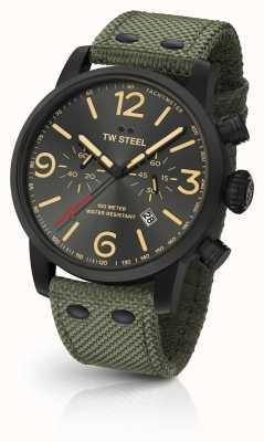 TW Steel Quadrante nero cinturino in cinturino di tela verde cronografo Maverick MS124