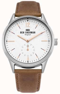 Ben Sherman Quadrante bianco opaco e cinturino in pelle marrone chiaro WB015T
