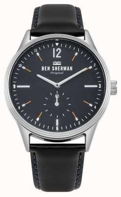 Ben Sherman Quadrante blu navy opaco e cinturino in pelle nera WB015UB