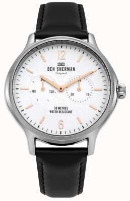 Ben Sherman Quadrante bianco opaco e cinturino in pelle nera WB017B