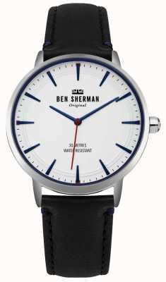 Ben Sherman Quadrante bianco opaco e cinturino in pelle nera WB020B