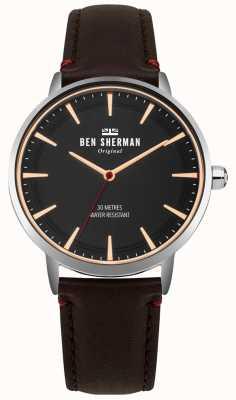 Ben Sherman Quadrante nero opaco e cinturino in pelle marrone WB020BR