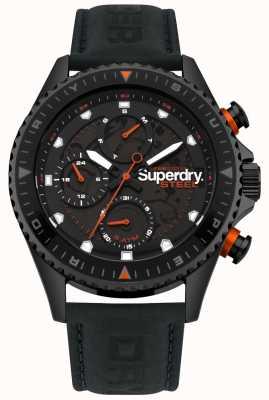 Superdry Quadrante sub con cinturino in pelle nera giorno e data ufficiale in acciaio SYG220BB