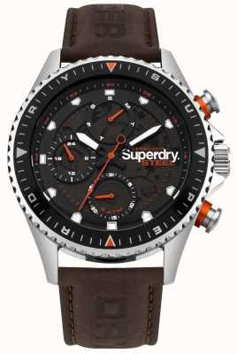 Superdry Quadrante sub con cinturino in pelle marrone per giorno e data ufficiale Steel SYG220BR