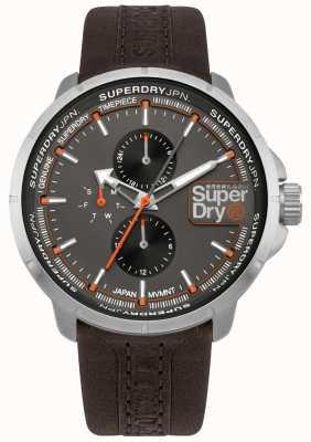 Superdry Quadrante grigio cinturino marrone Kyoto ranger SYG218T