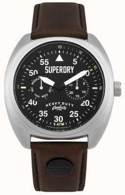 Superdry Cinturino nero per data e giorno aviatore Scout SYG229BR