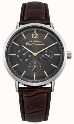 Ben Sherman Cinturino in pelle marrone con display giorno e data in acciaio inossidabile BS011EBR