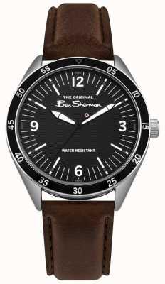 Ben Sherman Cassa nera quadrante argentato in acciaio inossidabile cinturino in pelle marrone BS007BBR