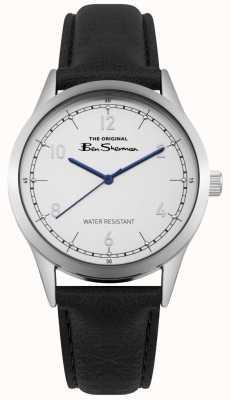 Ben Sherman Quadrante bianco mani blu cassa in acciaio nero pelle nera BS012WB
