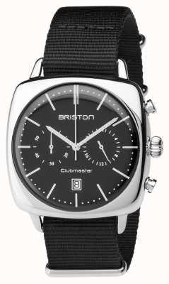 Briston Mens clubmaster vintage cronografo in acciaio nero tessile 17140.PS.V.1.NB
