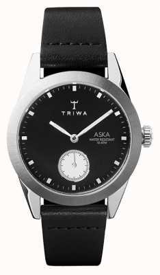 Triwa Slate aska quadrante nero cassa in acciaio nero in pelle nera AKST107-SS010212