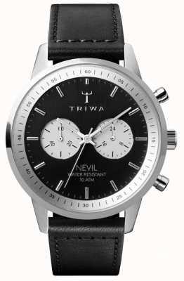 Triwa Cronografo in ardesia con quadrante nero con cinturino in pelle nera NEST118-SC010112