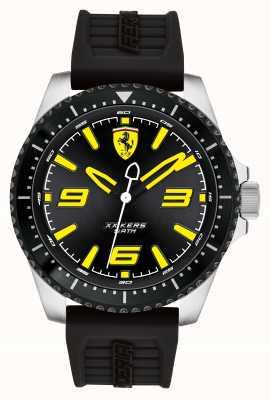 Scuderia Ferrari Xx kers quadrante nero nero rivestito in ip con cinturino in caucciù nero 0830487
