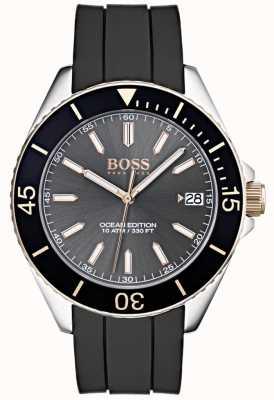 Hugo Boss Cinturino in caucciù nero con quadrante grigio edizione Ocean 1513558