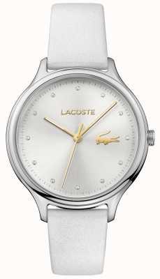 Lacoste Constance cristallo set quadrante argentato cinturino in pelle bianca 2001005